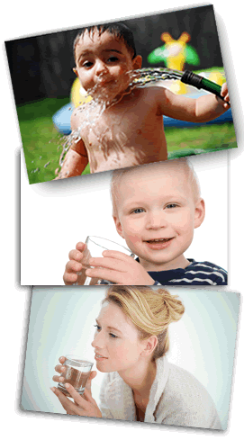 Collage of children and parents drinking water