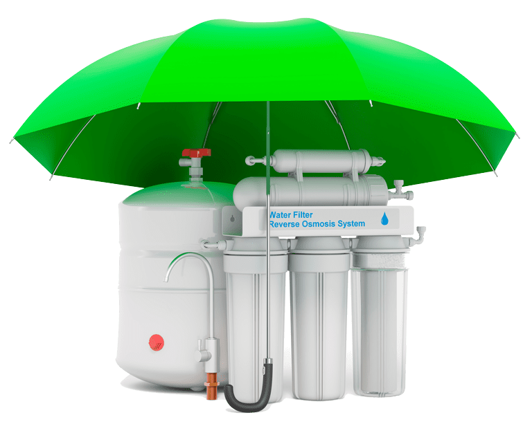Reverse osmosis system under umbrella, 3D rendering isolated on white background